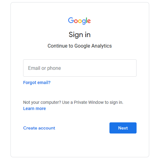 Sign in to your Analytics account.