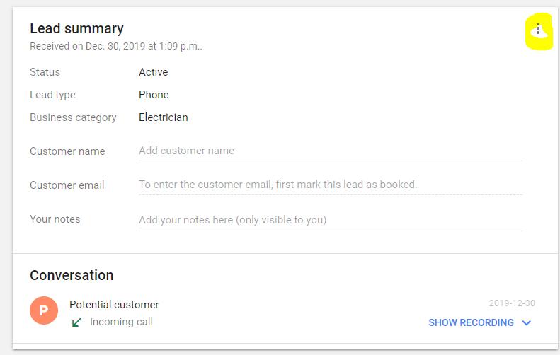 Google Lead Summary