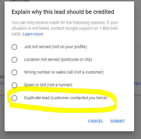 Google Local Services Dispute Lead