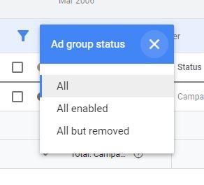 Ad Group Status