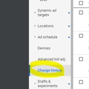 Google Ads Change History Tab