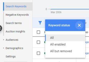 Google ads keyword status