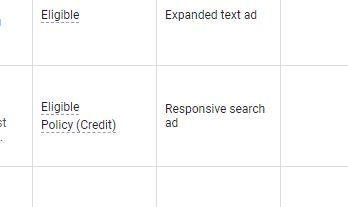 Google Ads Policy (Credit)